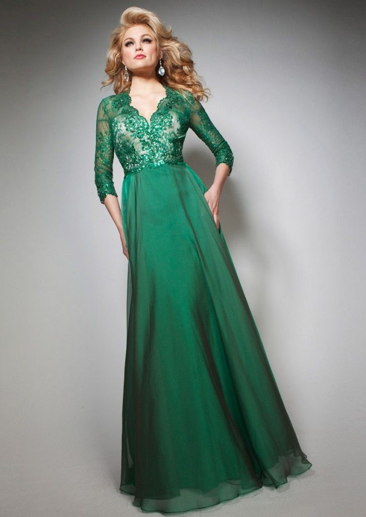 Amazing Green Lace Evening Dress