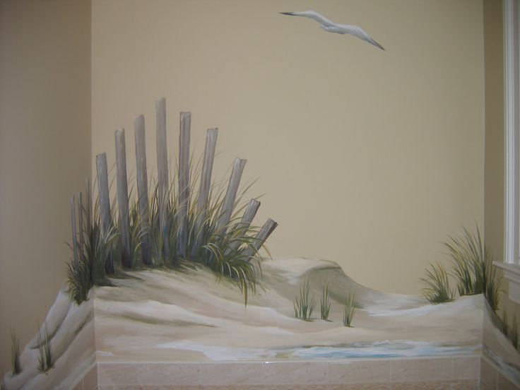 beach mural - sand dunes/fencing and seagull