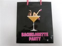 Bachelorette Goodie Bags black and pink with pink string handles