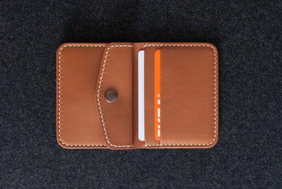 Small Leather Wallet  Bifold Wallet  Handmade Minimal от WILKAMI