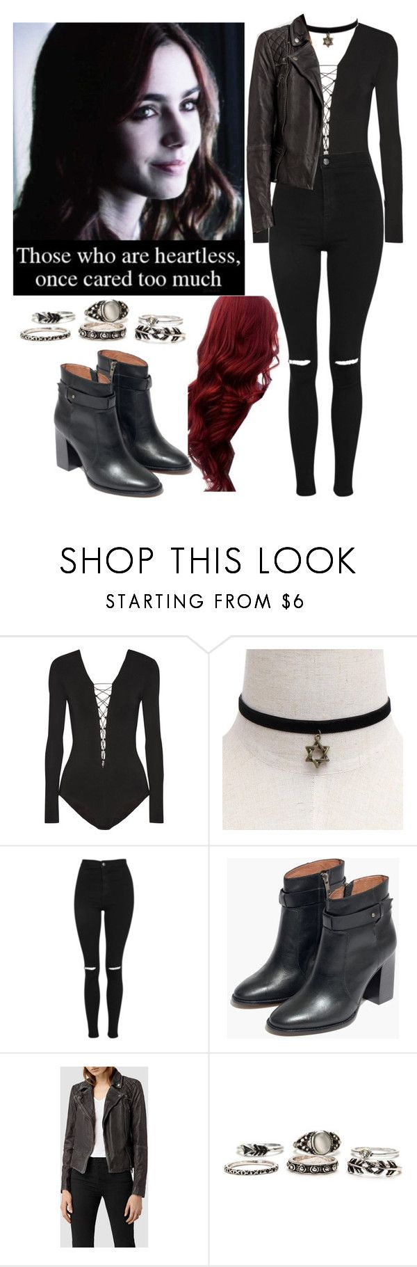 """""""Samara Inspired Outfit"""" by demiwitch-of-mischief ❤ liked on Polyvore featuring T By Alexander Wang, Topshop, Madewell and AllSaints"""