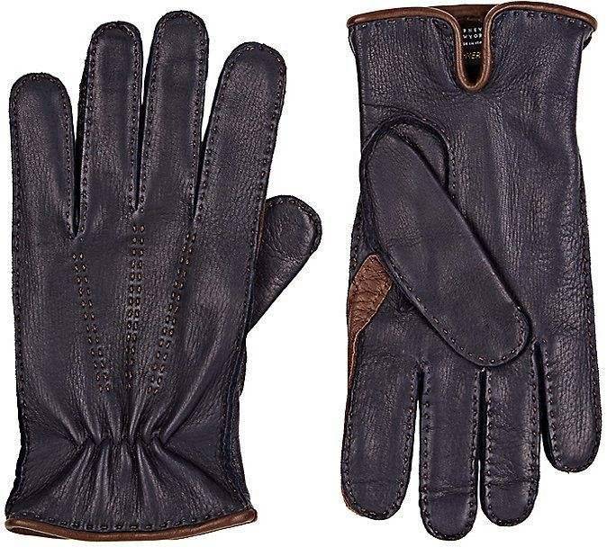 Barneys New York Men's Navy Deerskin Gloves-NAVY