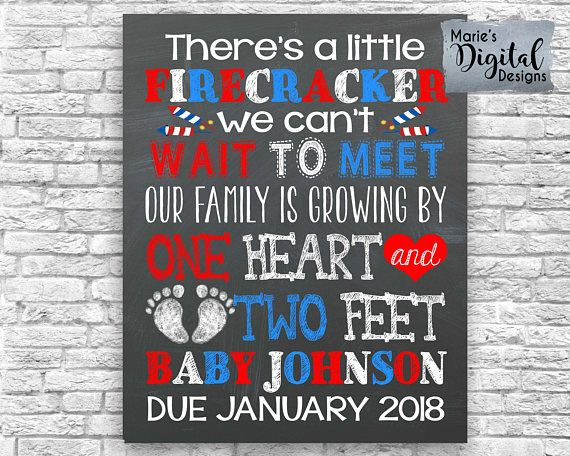 Are you looking for a great way to share with your friends and family the exciting news of expecting a baby? This cute 4th of July themed chalkboard printable not only makes a great photo prop and / or card but its also perfect to upload onto social media sites to make your big announcement!  ♥♥♥ This is a printable digital file - NO PHYSICAL PRODUCT WILL BE SENT ♥♥♥  You will receive a digital file formatted to be printed as either a 4x6, 5x7, 8x10, 11x14 or 16x20 which you can print f...