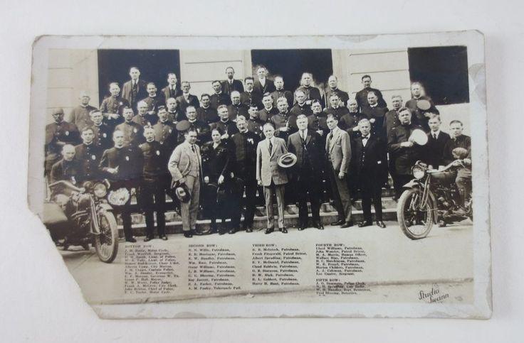 Antique RPPC-CHARLESTON WV POLICE DEPT-Identified Officers W/Billy Sunday & Gov.
