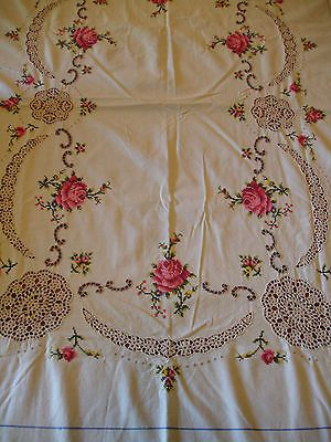 """Stunning. Vintage cross stitch linen table cloth with crochet inserts 82 x 68"""" German"""