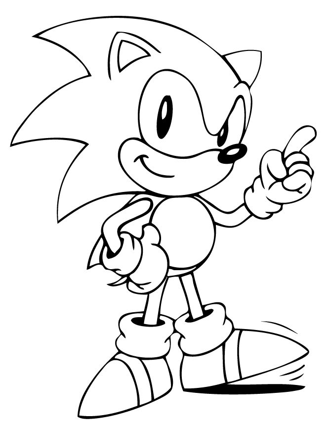 cute sonic the hedgehog coloring page