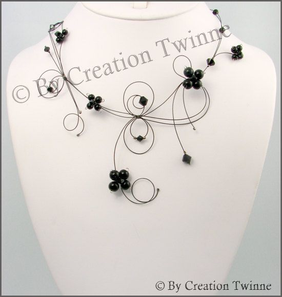 black flower necklace, wedding necklace, bridesmaids necklace, bridal necklace, nature jewelry, agate, swarovski crystal,bridesmaids gifts by creationtwinne. # GET IT HERE: http://www.etsy.com/listing/74226479