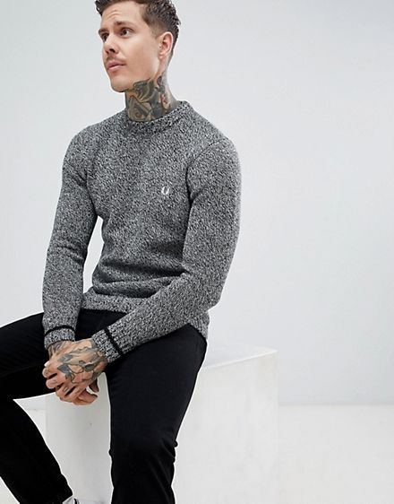 45be1d6722e28e Fred Perry fleck yarn knitted crew neck jumper in grey   fashion ...