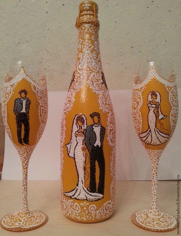 """Купить Свадебный набор """"Он и она"""" - оранжевый, персиковый, свадьба, шампанское на свадьбу, свадебные бокалы"""