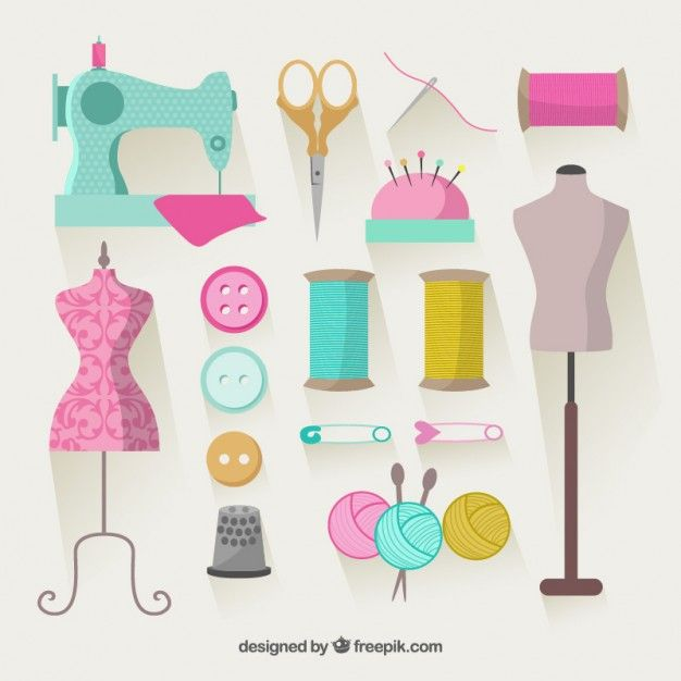 Elementos de costura coloridas Vetor grátis