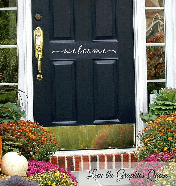 Welcome Front Door Decal • Script Lettering Welcome Front Door Add Curb Appeal - Entryway Decor Fall Autumn Decoration Decor Made in USA