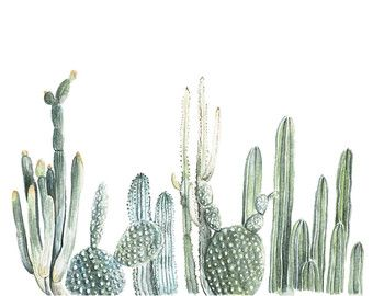 Horizontal Cactus Print  cactus painting  door FoxHollowDesignCo