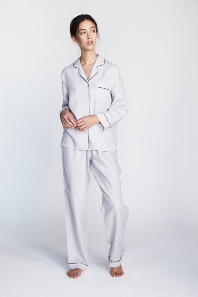 The 'Valentine' Long Sleeve Shirt and Pant set in Silver - Andrea & Joen French Linen Loungewear Collection shot by Sylve Colless
