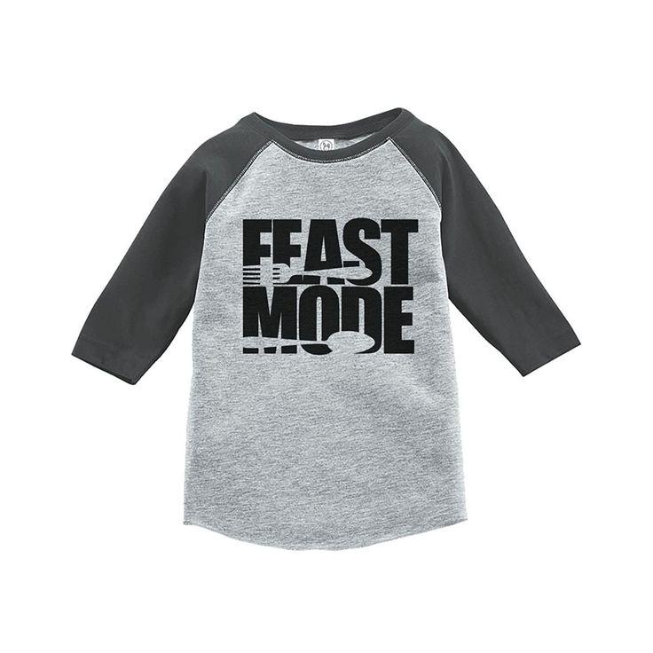Custom Party Shop Baby's Feast Mode Thanksgiving Grey Raglan