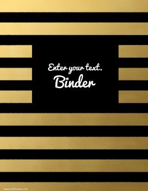 Binder template with black and gold stripes. Customize online. Free!