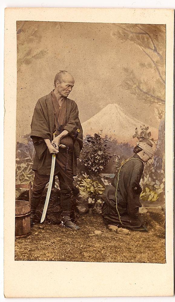 Yokohama Japan * EXECUTIONER & VICTIM Rare Exceptional 1869 CDV carte-de-visite