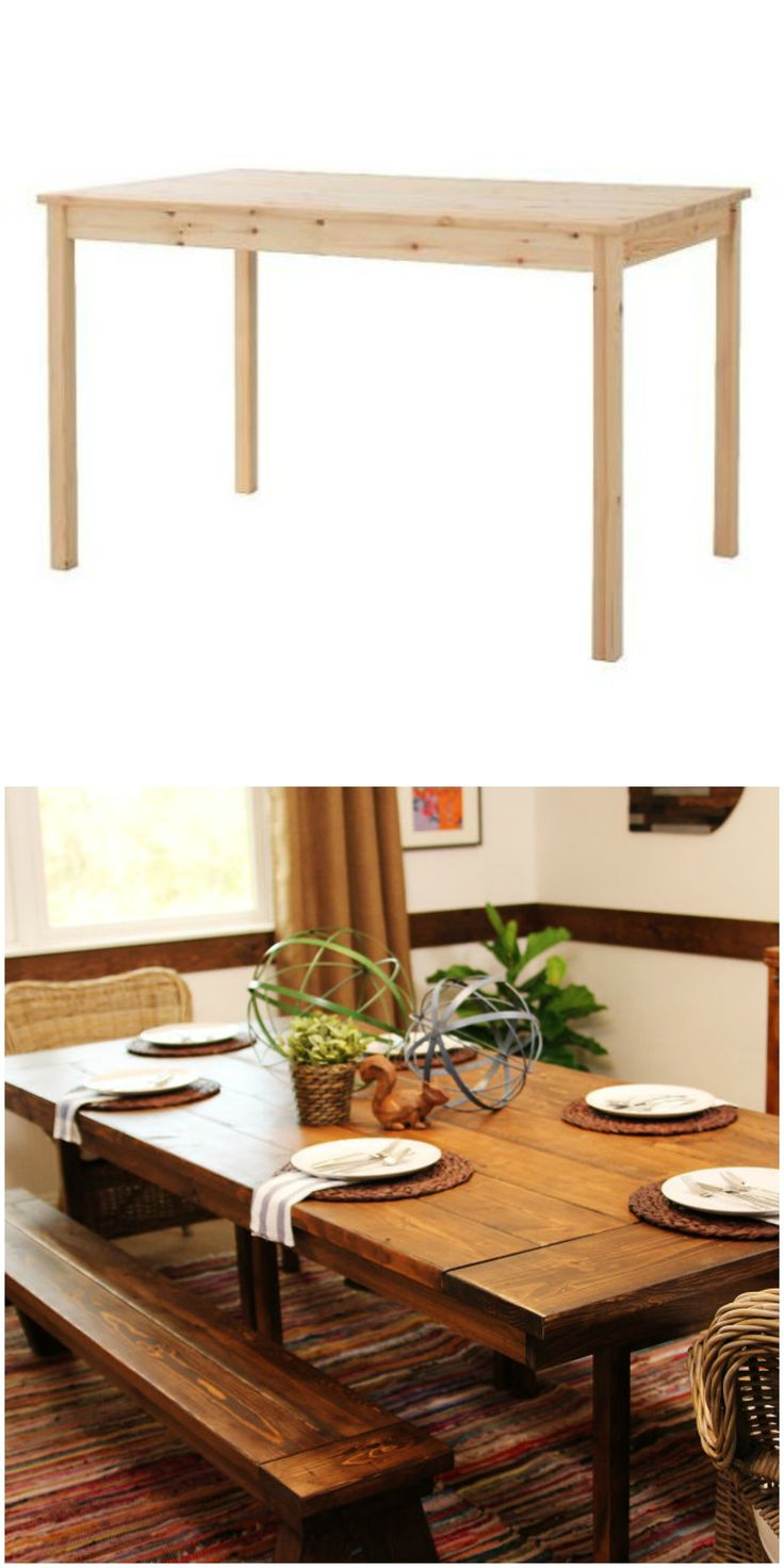 The Ingo table turns into a rustic dining room set in this IKEA hack.
