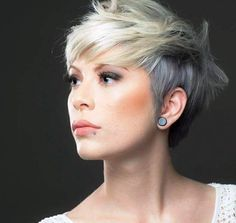 The Ashy Blonde Pixie Cut We love the brute toughness of a classic pixie, but going short doesn't mean looking like a man. This highly textured example is full of femininity: eyebrow grazing fringe, soft edges, and piece-y face framing bits that give the style beautifying appeal. The golden blonde on top gives way to a silvery, ashy, almost blue beige blonde that is as sultry as it is trendy.