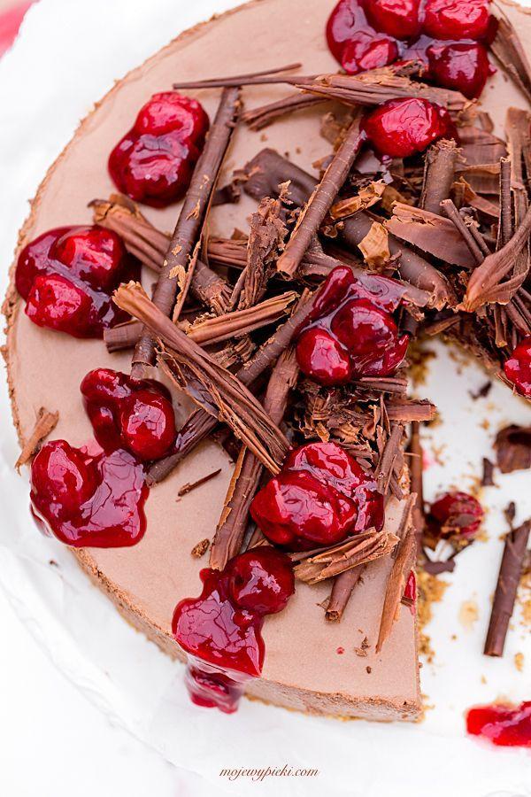 No Bake Chocolate Cheesecake with Cherries