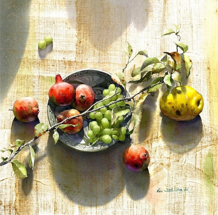 Shin Jong Sik ~ Watercolor painter famous for expressing clean, transparent colors and his still life paintings