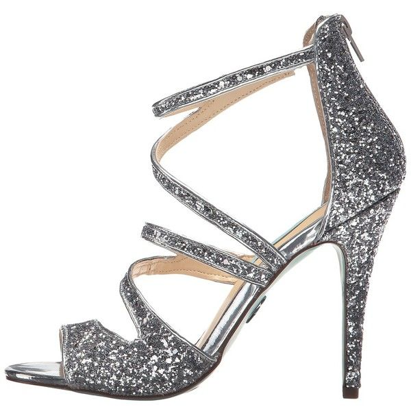 Blue by Betsey Johnson Izzy (Silver Glitter) High Heels ($99) ❤ liked on Polyvore featuring shoes, open toe high heel shoes, silver open toe shoes, open toe shoes, glitter high heel shoes and betsey johnson