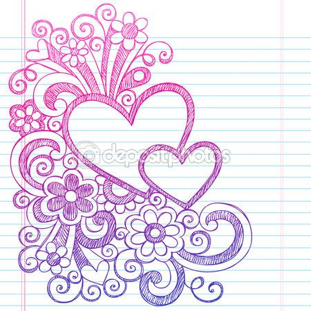 Love Hearts Frame Border Back to School Sketchy Notebook Doodles- Vector Illustration Design on Lined Sketchbook Paper Background