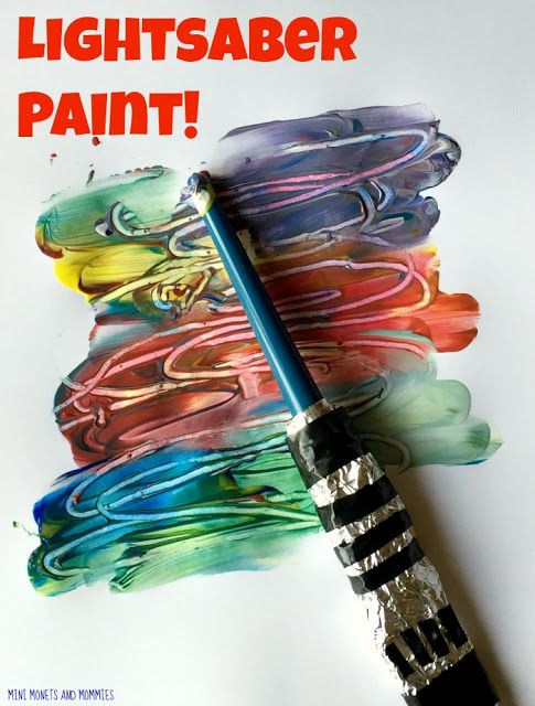 Star Wars art activity for kids. Make a lightsaber painting.