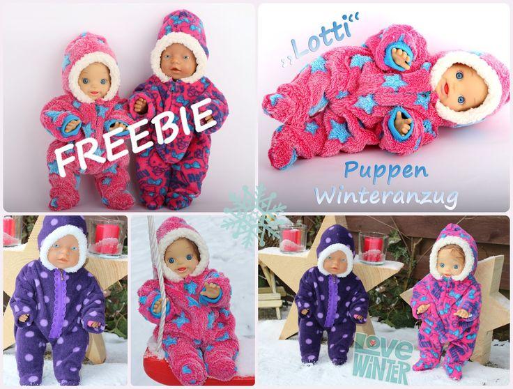 """Freebie Puppen - Winteranzug """"Lotti"""" Hallo ihr Lieben, passend zu diesem schönen Winterwonderland mit viel Schnee und winterlichen T..."""
