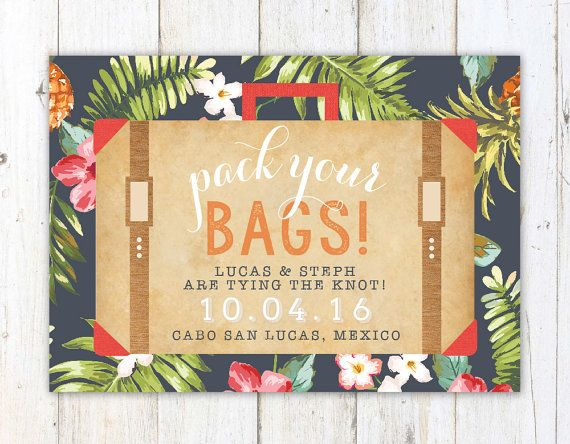 What To Include In A Wedding Invitation Pack: Destination Wedding Invite, Tropical Save The Date, Pack