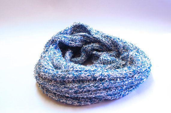 Fluffy warm blue infinity scarf