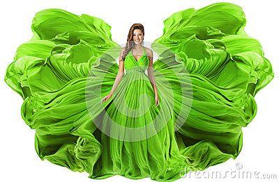 Платье как крыла, ткань фотомодели развевая мантии зеленого цвета женщины
