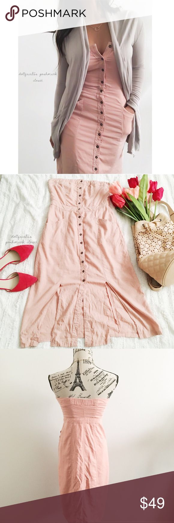 """NWT BDG Pink Button Down Strapless Dress ✦   ✦{I am not a professional photographer, actual color of item may vary ➾slightly from pics}  ❥chest:15.5"""" ❥waist:14"""" ❥length:37"""" front slits:11.5""""  ➳55%linen+45%rayon/rayon lining/machine wash  ➳fit:like a sml in my opinion  ➳condition:new w/tag   ✦20% off bundles of 3/more items ✦No Trades  ✦NO HOLDS ✦No lowball offers/sales are final  ✦‼️BE A RESPONSIBLE BUYER PLS ASK QUESTIONS/USE MEASUREMENTS TO MAKE SURE THIS WILL WORK FOR {YOU} BEFORE…"""
