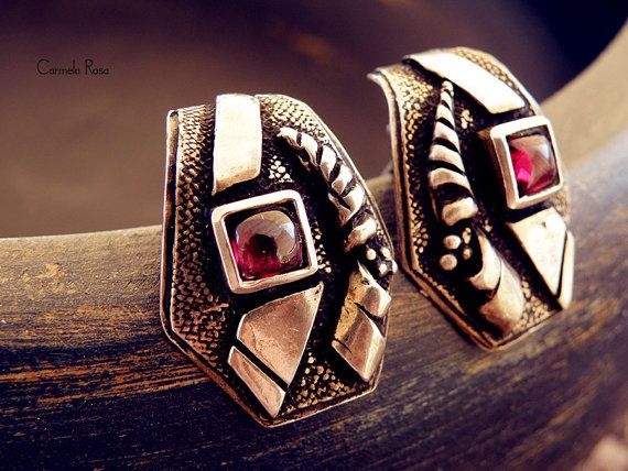 Greek earrings vintage silver earrings silver clip by CarmelaRosa