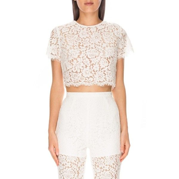 Keepsake the Label 'Let it Happen' Lace Crop Top (495 BRL) ❤ liked on Polyvore featuring tops, ivory, keyhole top, lace crop top, ivory lace top, lace top and lacy tops