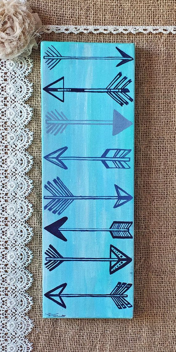 "Arrows Painting on Canvas 12"" x 4"""