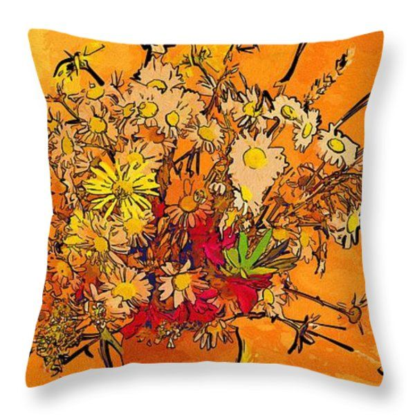 Drawing And Painting Flowers Throw Pillow #art #flowers