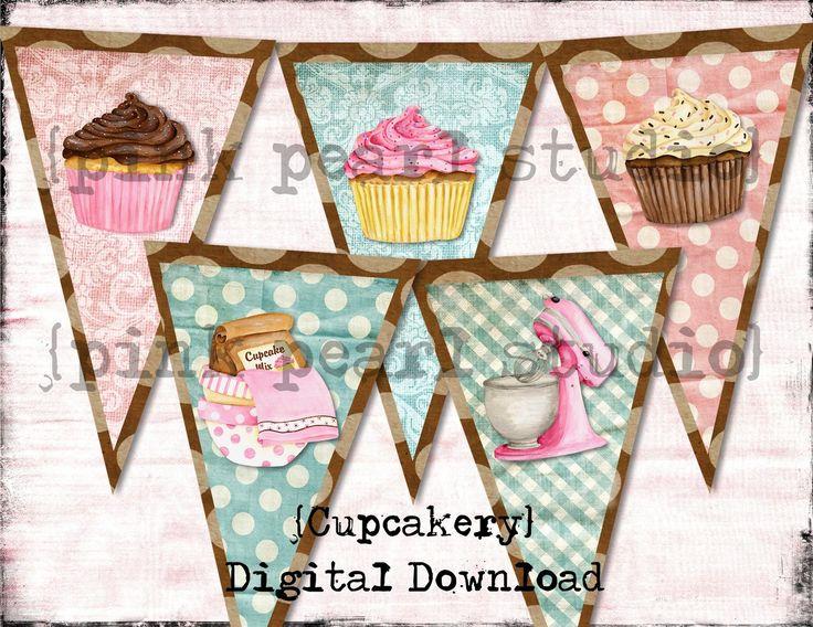 vintage bakery bunting | Vintage BaKeRY CupCAke ReTro Banner / Easy DIY Digital File MIxEd ...