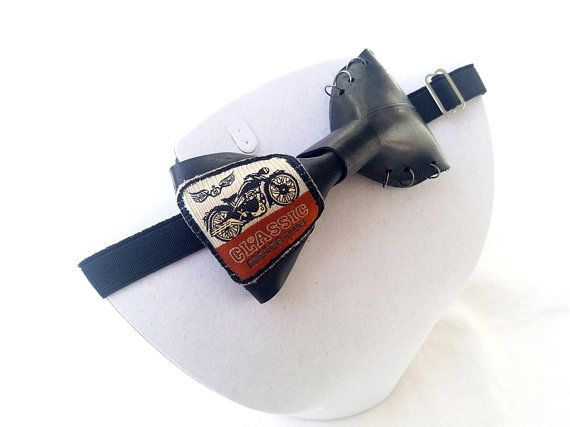 motorcycle inner tube bow tie, bow tie with patch, leather like, upcycled neckwear, vegan bow tie