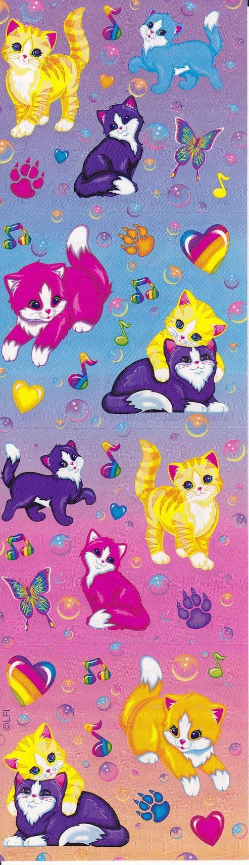 Vintage Lisa Frank Playful Kitten Sticker Strip by NovasNickNacks, $5.00