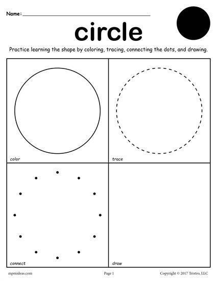 FREE printable circle worksheet. This circle coloring page and tracing worksheet is perfect for both toddlers and preschoolers. Includes a circle plus 11 other shapes worksheets. Get all twelve shape coloring pages and tracing worksheets here --> http://www.mpmschoolsupplies.com/ideas/7557/12-free-shapes-worksheets-color-trace-connect-draw/