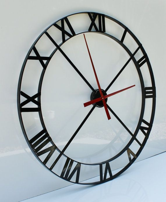 """36"""" Wall Clock - Industrial Steel/Metal Powder Coated - Black (Movement & Hands NOT INCLUDED)"""