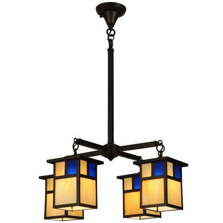 Four light craftsman chandelier with beige and blue art glass.