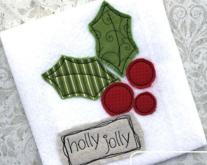 Holly jolly shabby chic applique embroidery design holly appliqué
