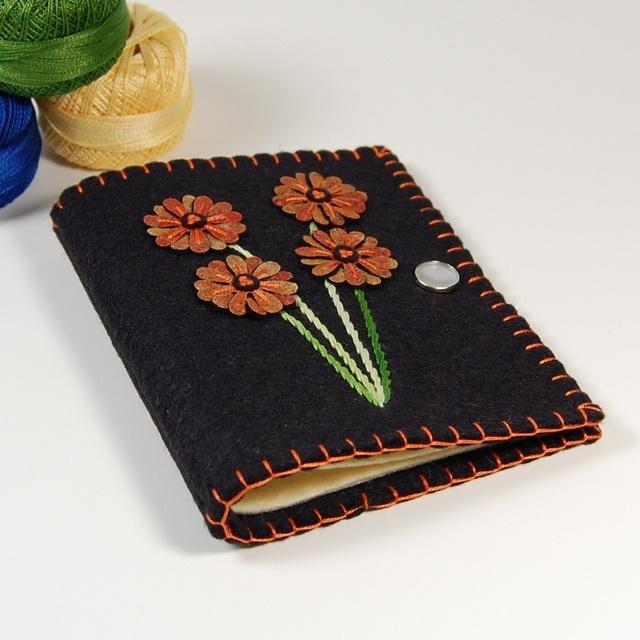 Orange Daisy Black Felt Needle Book, via Flickr.