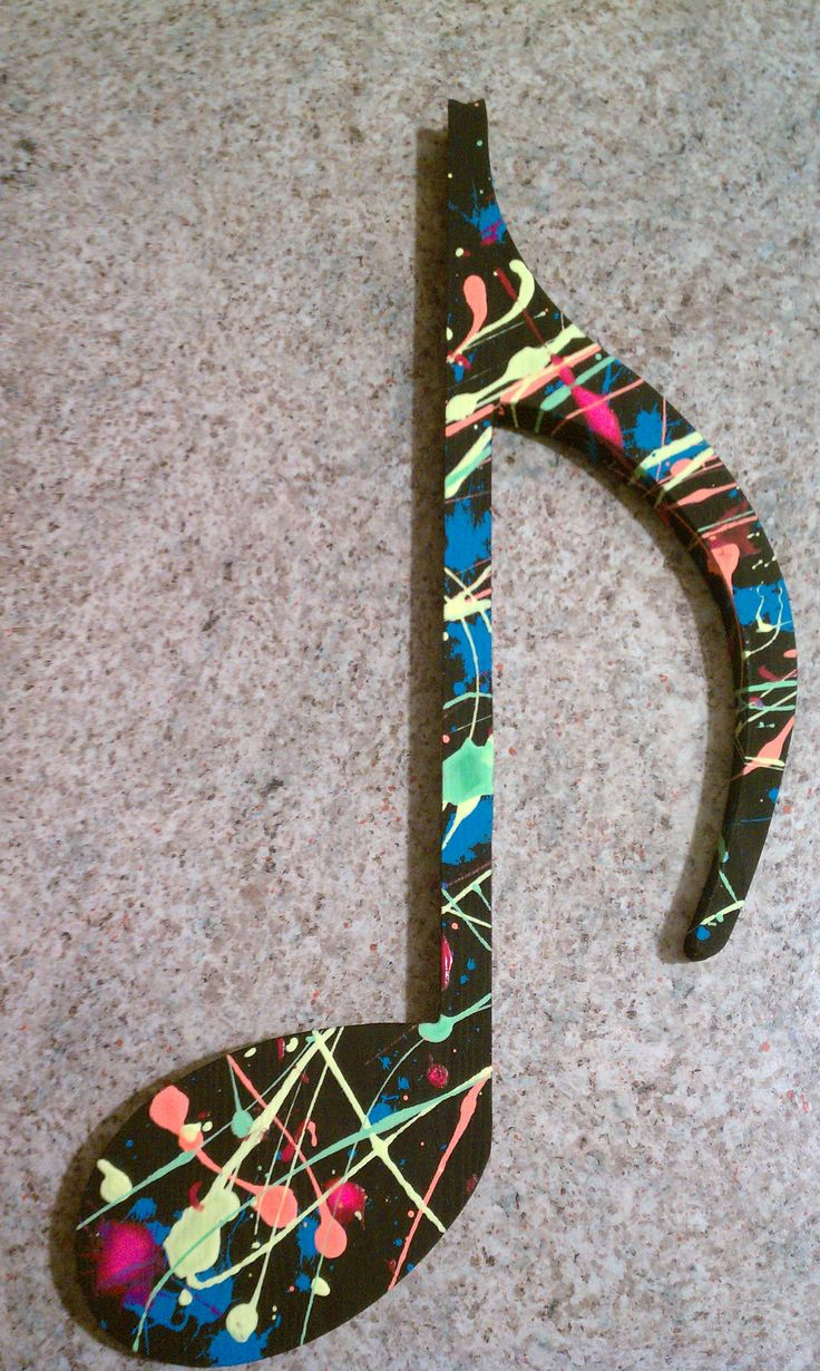 Splatter painted music note  These will be all over my house, and in different types of notes.