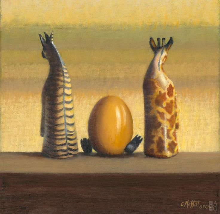 "Catherine Moffat - Rodney, Eggleg, and Beth Taking in the View - 10"" x 10"" - oil on canvas"