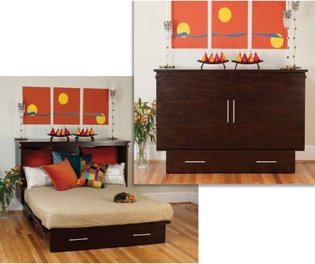 Arason Original Coffee Creden-ZzZ Flip-Top Cabinet Bed, Twin transitional-murphy-beds