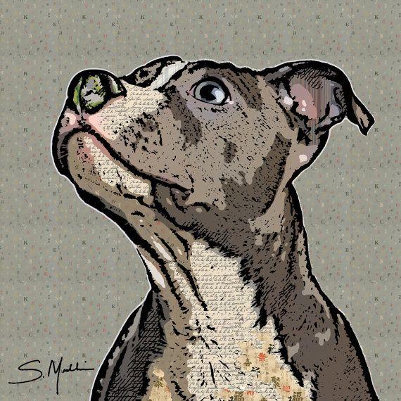 Pit Bull Pop Art Pattern Artwork by BarkArtPortraits on Etsy