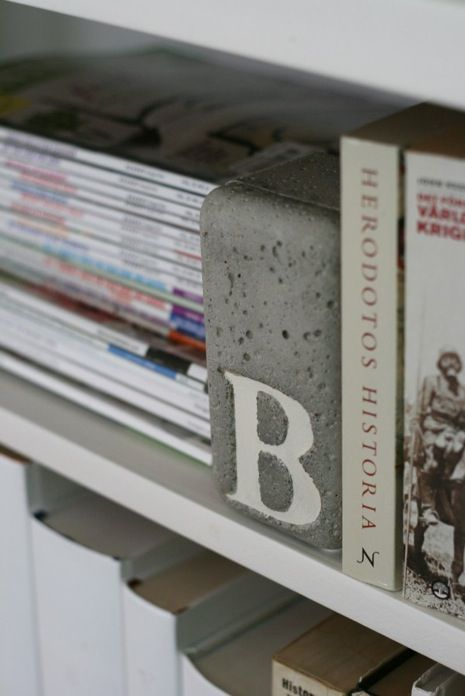 Concrete Bookends using a Ferrero Rocher box as a mould.               Gloucestershire Resource Centre http://www.grcltd.org/home-resource-centre/
