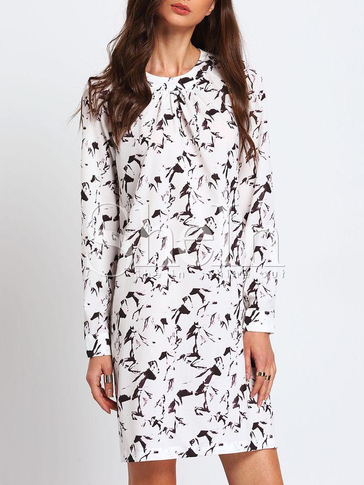 ¡Cómpralo ya!. White Crew Neck Print Shift Dress. White Casual Polyester Round Neck Shift Short Floral Fabric has no stretch Fall Tunic Dresses. , vestidoinformal, casual, informales, informal, day, kleidcasual, vestidoinformal, robeinformelle, vestitoinformale, día. Vestido informal  de mujer color blanco de SheIn.